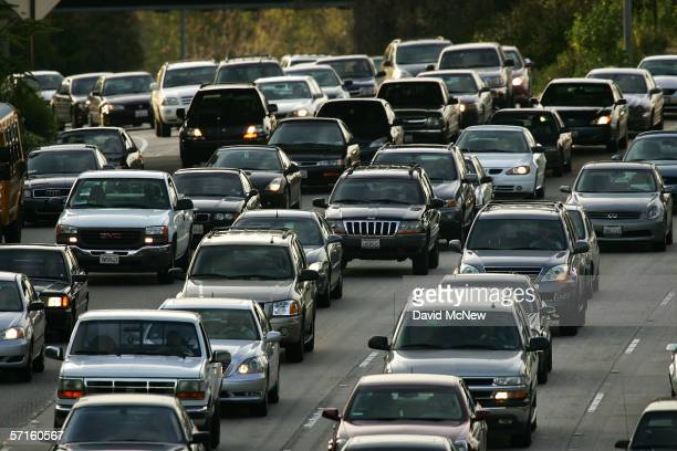 Rush hour traffic fills the 101 freeway on March 22 2006 in Los Angeles California According to a recent report by the Environmental Protection...