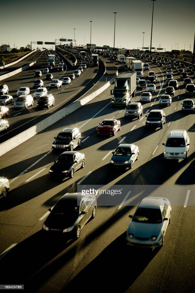 Rush hour traffic jam on the freeway : Stock Photo