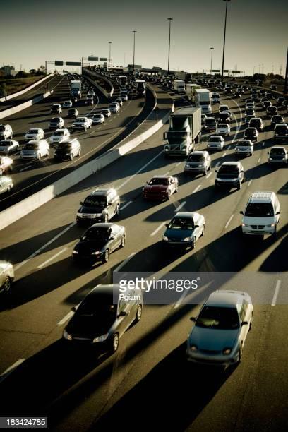 Rush hour traffic jam on the freeway