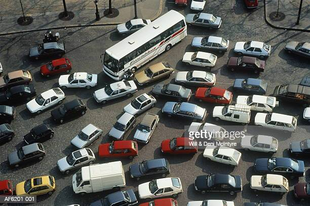 Rush hour traffic jam, overhead view, Paris, France