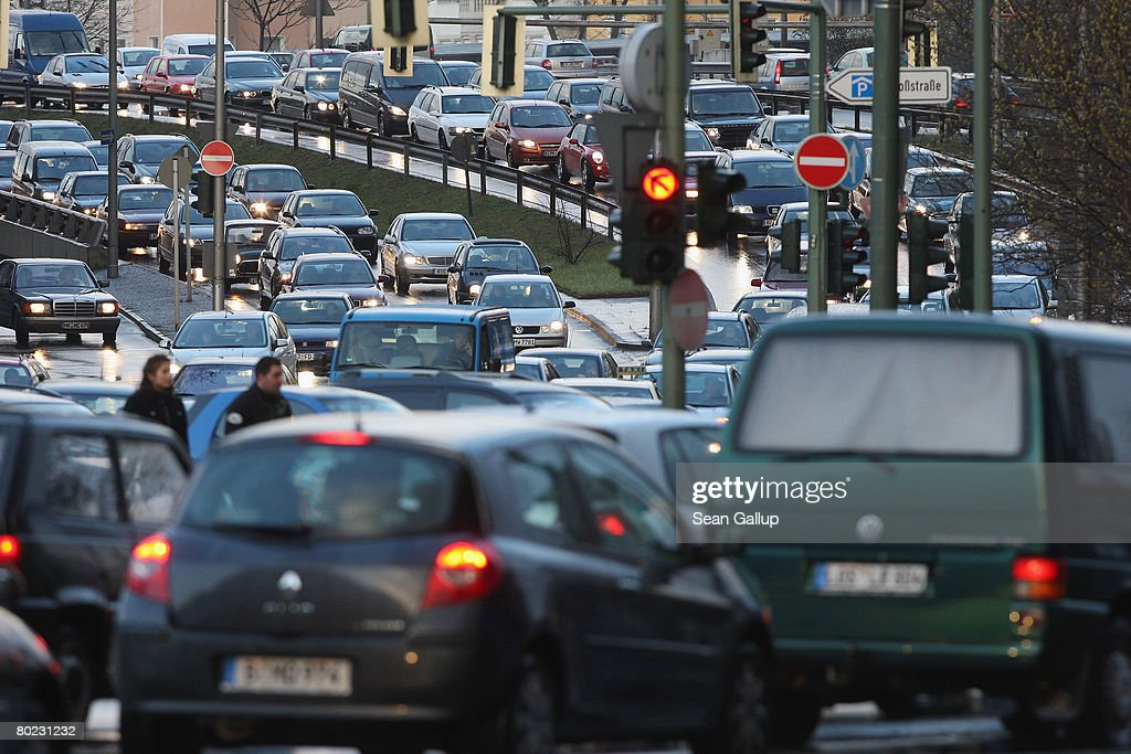 Rush hour traffic makes its way through the district of Steglitz on the ninth day of a strike by Berlin public transit authority workers on March 13...