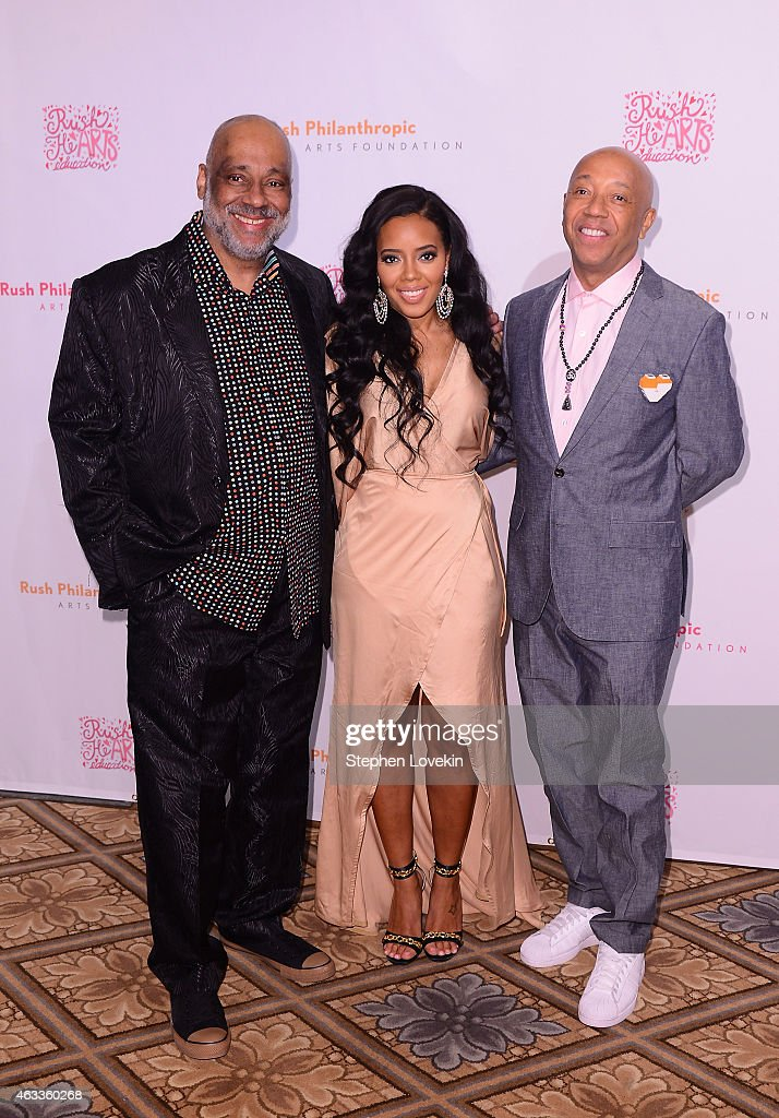 Rush Philanthropic Arts Foundation co-founder Danny Simmons, fashion designer Angela Simmons, and Rush Philanthropic Arts Foundation co-founder Russell Simmons attend Russell Simmons' Rush Philanthropic Arts Foundation's annual Rush HeARTS Education Valentine's Luncheon at The Plaza Hotel on February 13, 2015 in New York City.