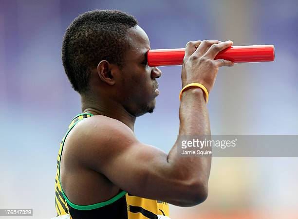 Rusheen McDonald of Jamaica competes in the Men's 4x400 metres relay heats during Day Six of the 14th IAAF World Athletics Championships Moscow 2013...