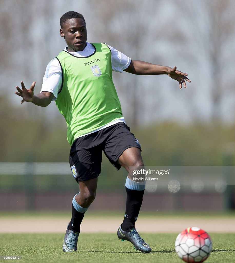 Rushian Hepburn Murphy of Aston Villa in action during a Aston Villa training session at the club's training ground at Bodymoor Heath on May 06, 2016 in Birmingham, England.