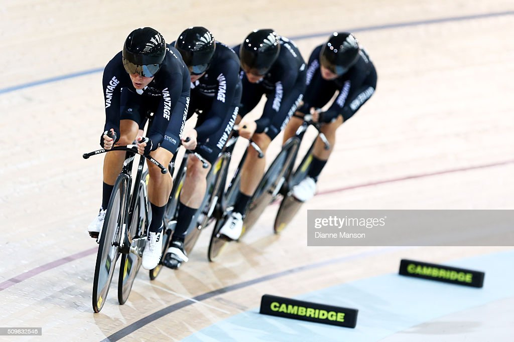 Rushlee Buchanan, Lauren Ellis, Jaime Nielsen and Georgia Williams of New Zealand during a 4000m Team Pursuit time trial at the New Zealand Track National Championships on February 13, 2016 in Cambridge, New Zealand.