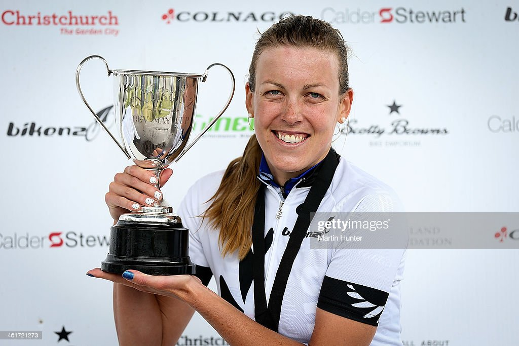Rushlee Buchanan of Waikato celebrates with the trophy after winning the New Zealand Women's Road Cycling Championships at Pioneer Stadium on January 11, 2014 in Christchurch, New Zealand.