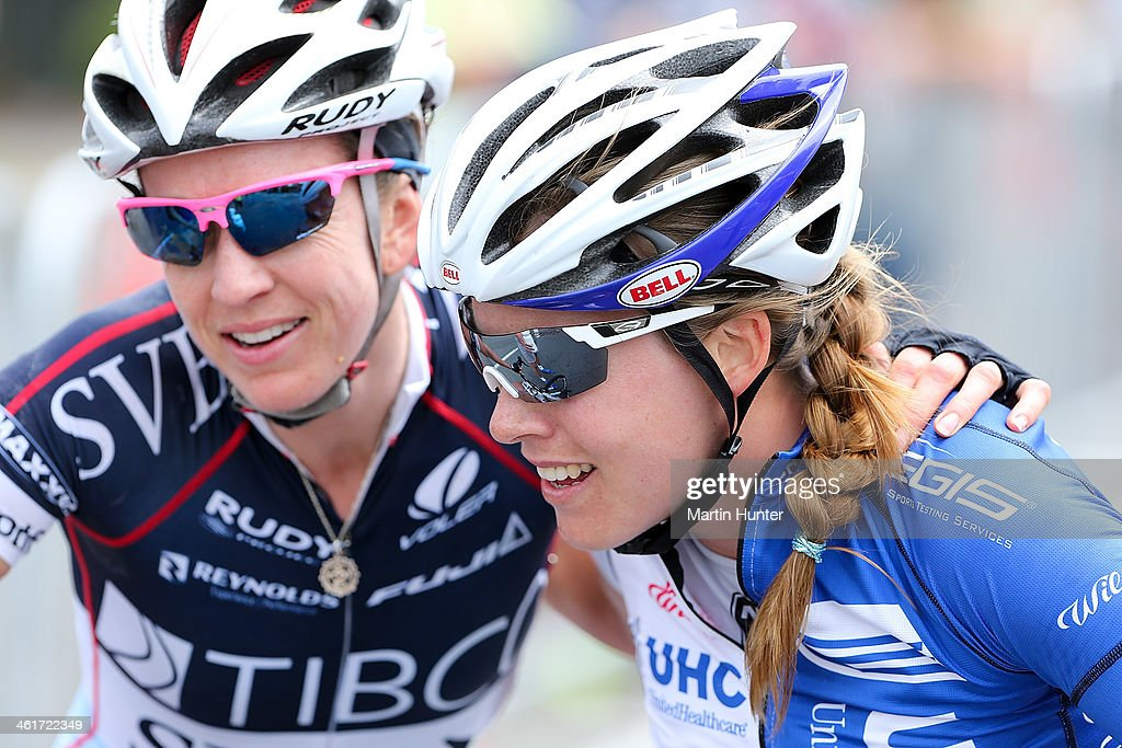 Rushlee Buchanan (R) of Waikato receives a hug from Joanne Kiesanowski of Christchurch after winning the New Zealand Women's Road Cycling Championships at Pioneer Stadium on January 11, 2014 in Christchurch, New Zealand.