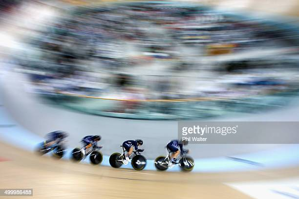 Rushlee Bushanan Lauren Ellis Jaime Nielsen and Georgia Williams of New Zealand compete in the Womens Team Pursuit during the 2015 UCI Track Cycling...