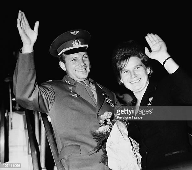Rusian cosmonauts Valentina Tereshkova And Yuri Gagarin Soviet Union circa 1965