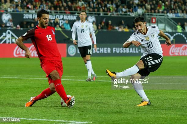 Ruslan Abishov of Azerbaijan und Lars Stindl of Germany battle for the ball during the FIFA 2018 World Cup Qualifier between Germany and Azerbaijan...