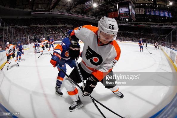 Ruslan Fedotenko of the Philadelphia Flyers skates against the New York Islanders at the Nassau Veterans Memorial Coliseum on April 9 2013 in...