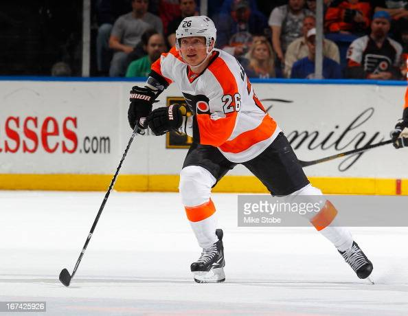Ruslan Fedotenko of the Philadelphia Flyers skates against the New York Islanders at Nassau Veterans Memorial Coliseum on April 9 2013 in Uniondale...