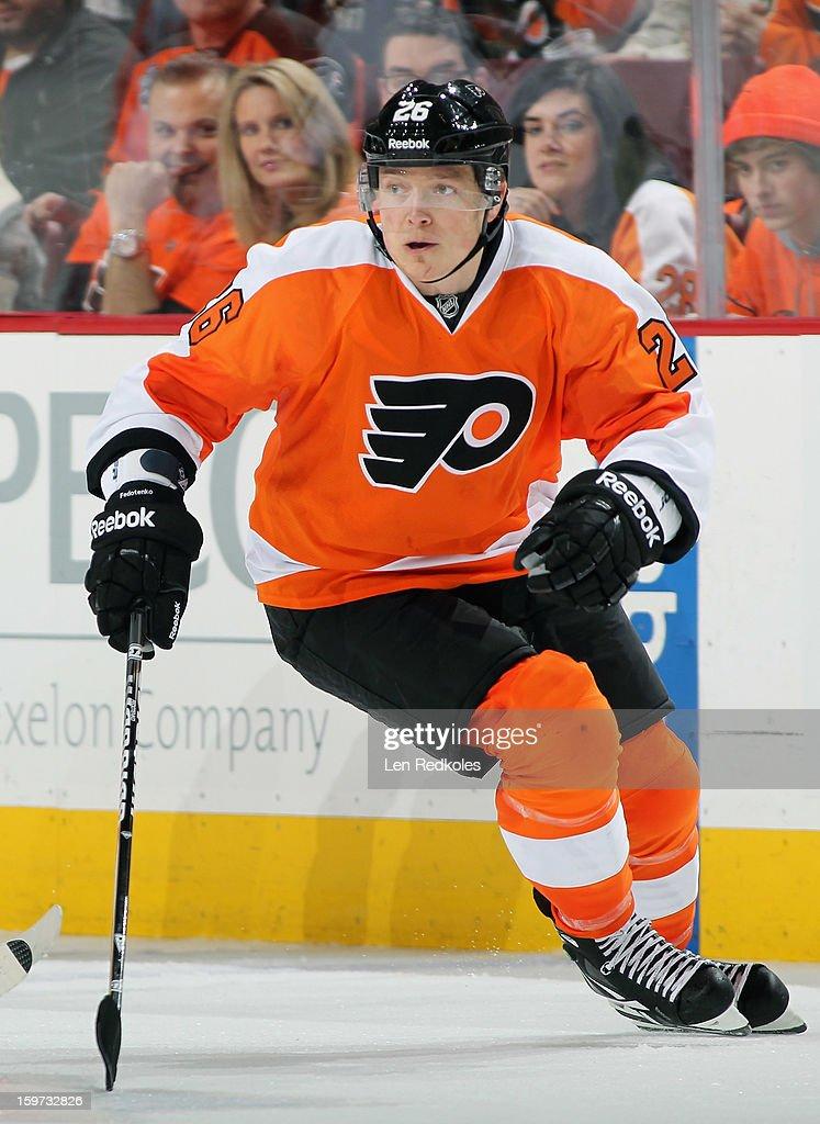 Ruslan Fedotenko #26 of the Philadelphia Flyers skates against the Pittsburgh Penguins on January 19, 2013 at the Wells Fargo Center in Philadelphia, Pennsylvania. The Penguins went on to defeat the Flyers 3-1.