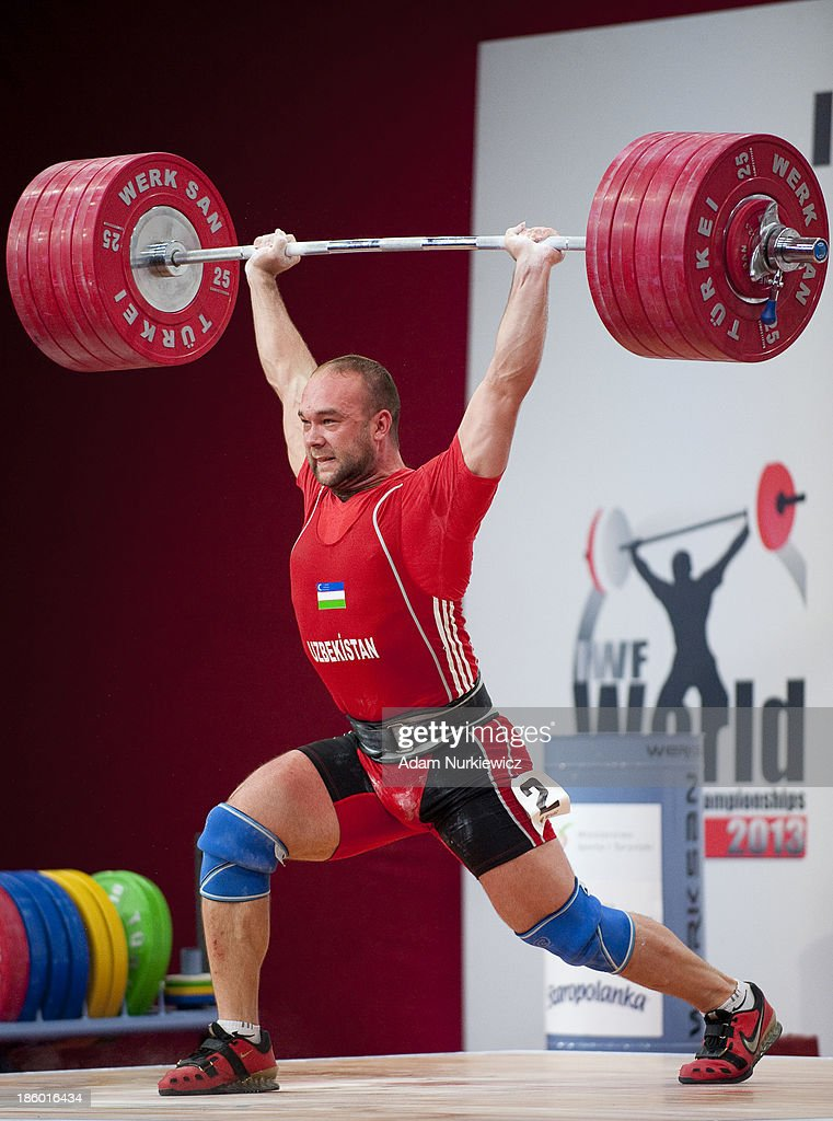 Ruslan Nurudinov of Uzbekistan lifts in the Clean & Jerk competition men's 105 kg Group A during the IWF World Weightlifting Championships Wroclaw 2013 at Centennial Hall on October 27, 2013 in Wroclaw, Poland.