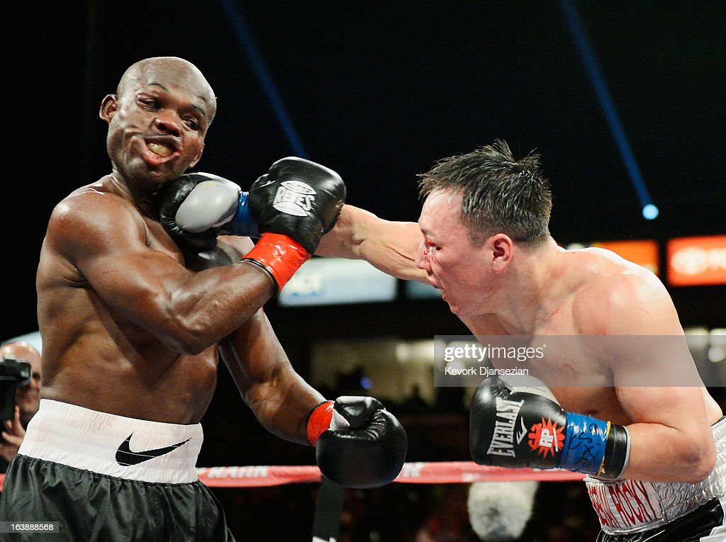 Ruslan Provodnikov, of Russia, (R) lands a punch into the head of WBO welterweight champion <a gi-track='captionPersonalityLinkClicked' href=/galleries/search?phrase=Timothy+Bradley+-+Boxer&family=editorial&specificpeople=5338349 ng-click='$event.stopPropagation()'>Timothy Bradley</a> during the third ninth of the WBO welterweight title boxing match at The Home Depot Center on March 16, 2013 in Carson, California. Bradley won in a narrow unanimous decision over Provodnikov to defend his WBO welterweight belt.