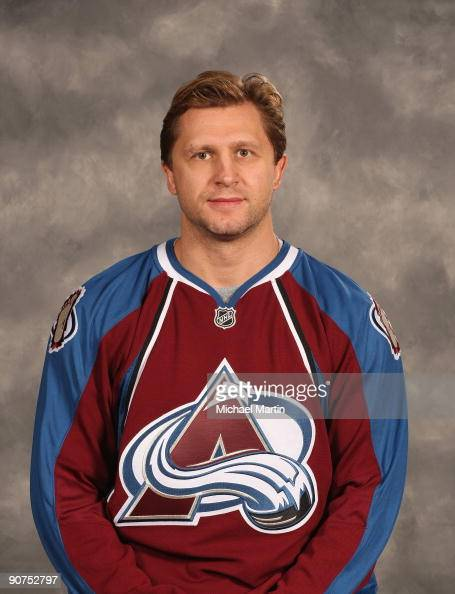 Ruslan Salei of the Colorado Avalanche poses for his official headshot for the 20092010 NHL season