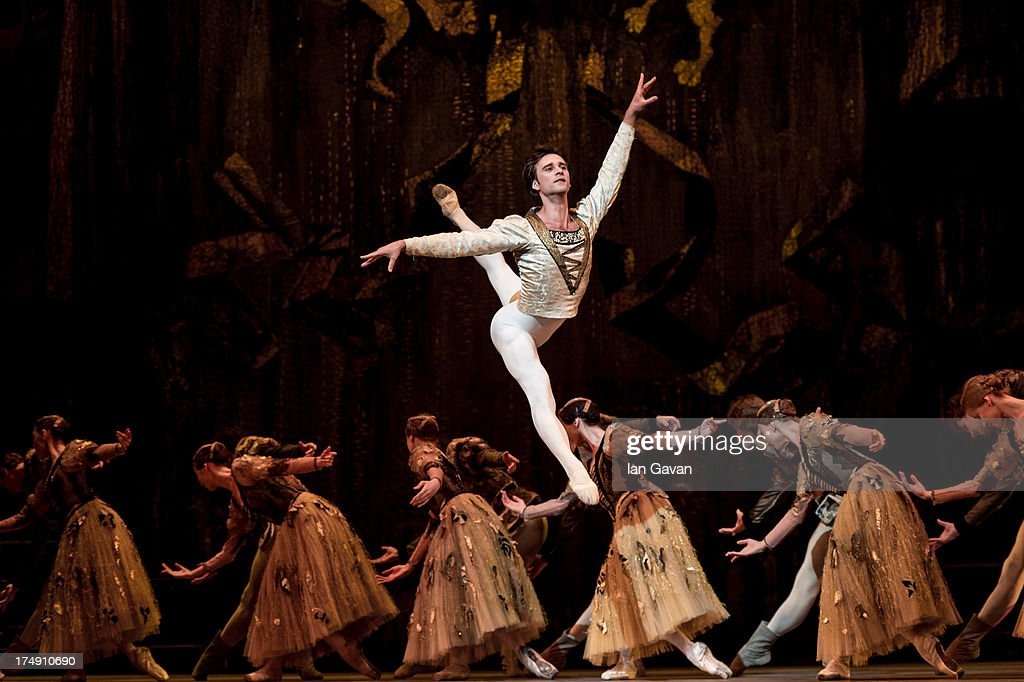 Ruslan Skvortsov of the Bolshoi Ballet performs during a photocall for 'Swan Lake' at The Royal Opera House on July 29, 2013 in London, England.