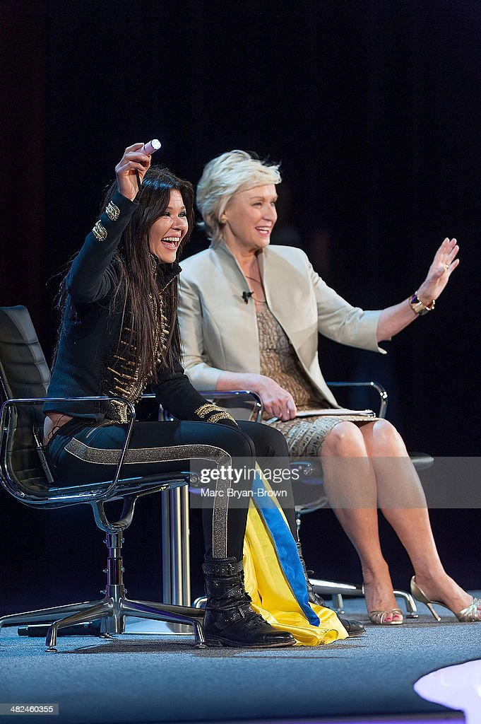 Ruslana Lyzhychko, Ukrainian and European Pop Singer, Leader of Maidan Square Protests and Tina Brown,attend attend the 5th Annual Women In The World Summit at David H. Koch Theater, Lincoln Center on April 3, 2014 in New York City.