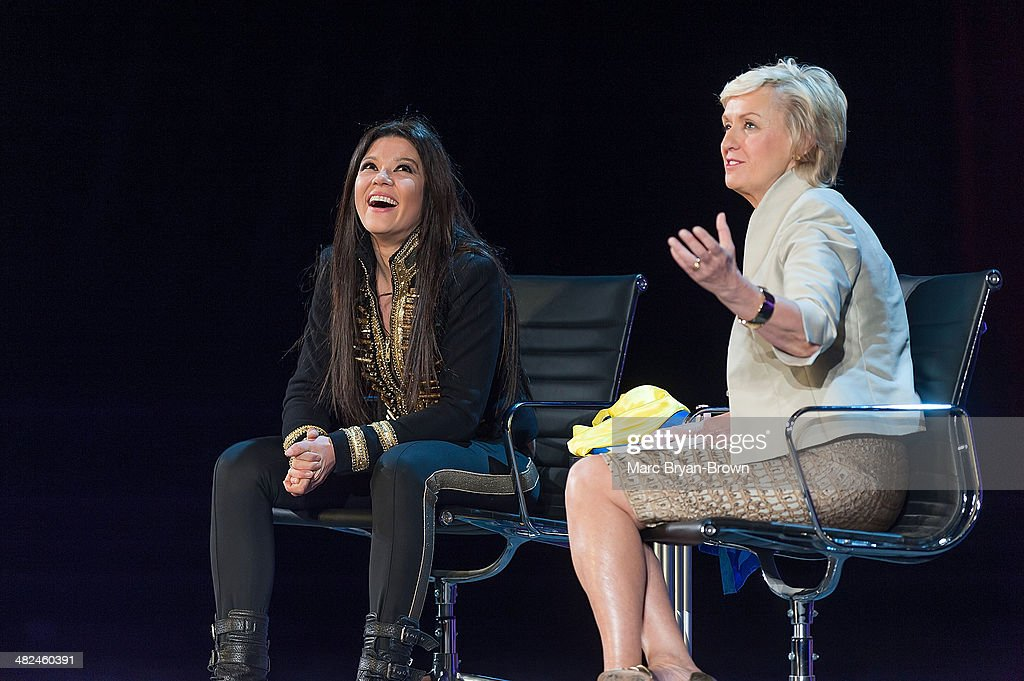 Ruslana Lyzhychko, Ukrainian and European Pop Singer, Leader of Maidan Square Protests and Tina Brown,attend the 5th Annual Women In The World Summit at David H. Koch Theater, Lincoln Center on April 3, 2014 in New York City.