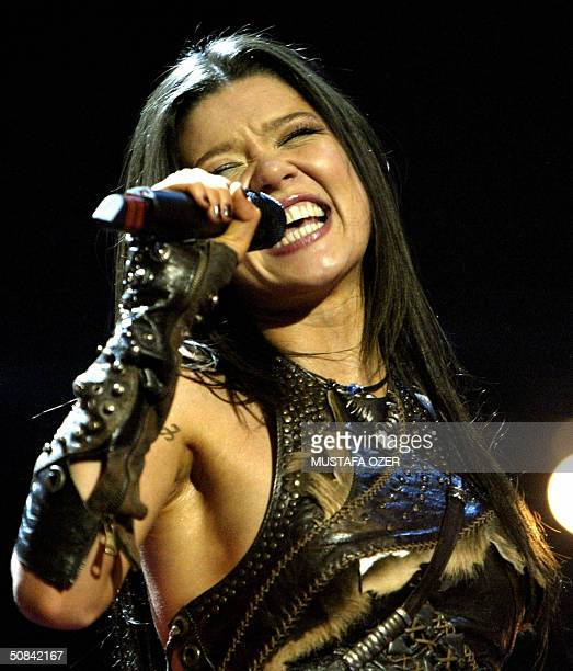 Ruslana of Ukraine jubilates after winning the 49th Eurovision Song Contest in Istanbul 15 May 2003 AFP PHOTO/Mustafa Ozer