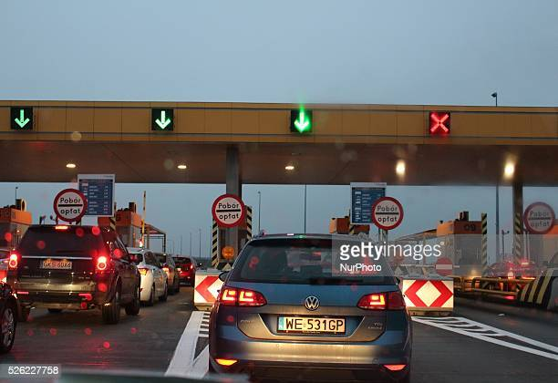 Rusocin 5th Nov 2015 Volkswagen Passat TDI waits in line to toll point point at the A1 motorway in Rusocin Poland
