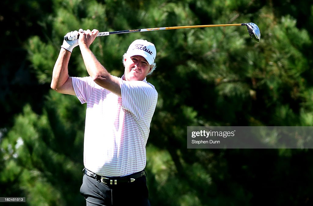 <a gi-track='captionPersonalityLinkClicked' href=/galleries/search?phrase=Russ+Cochran&family=editorial&specificpeople=3081168 ng-click='$event.stopPropagation()'>Russ Cochran</a> hits his tee shot on the second hole durng the final round of the Nature Valley First Tee Open at Pebble Beach at Pebble Beach Golf Links on September 29, 2013 in Pebble Beach, California.