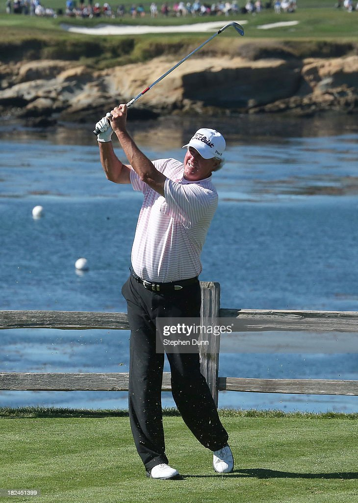 Russ Cochran hits his tee shot on the seventh hole durng the final round of the Nature Valley First Tee Open at Pebble Beach at Pebble Beach Golf Links on September 29, 2013 in Pebble Beach, California.