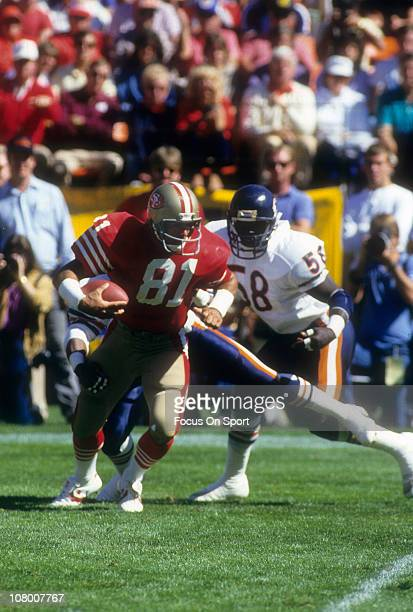 Russ Francis of the San Francisco 49ers in action against the Chicago Bears during an NFL football game at Candlestick Park October 13 1985 in San...