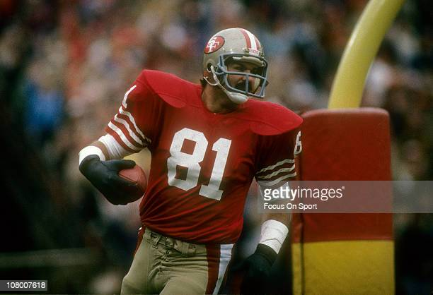 Russ Francis of the San Francisco 49ers in action during an NFL football game at Candlestick Park circa 1983 in San Francisco California Francis...