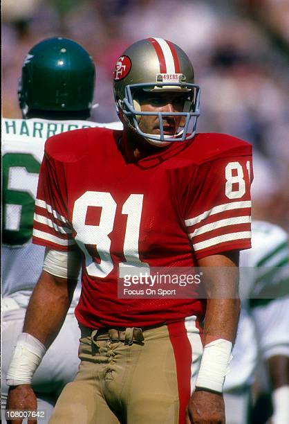 Russ Francis of the San Francisco 49ers looks on against the New York Jets during an NFL football game at Candlestick Park October 30 1983 in San...