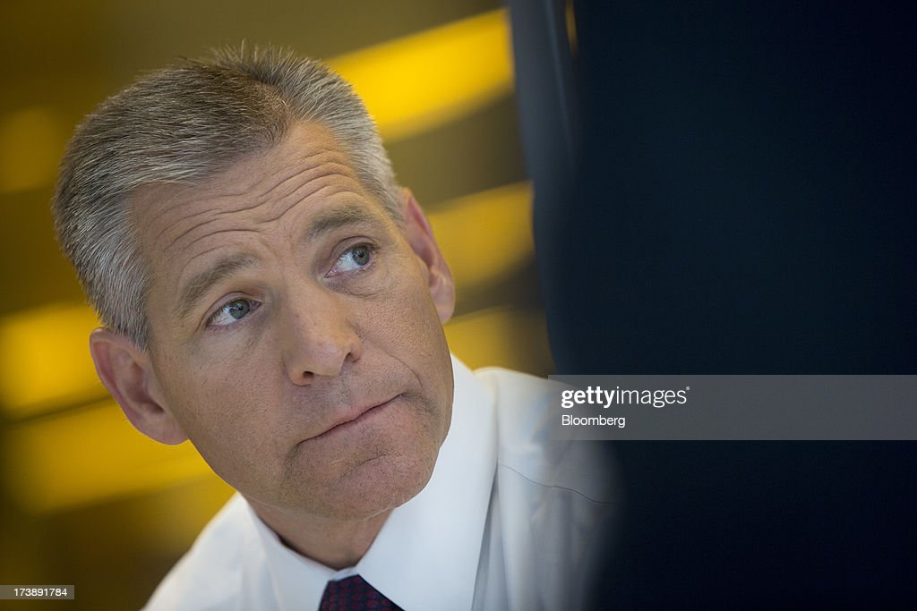 Russ Girling, chief executive officer of TransCanada Corp., pauses during an interview in New York, U.S., on Thursday, July 18, 2013. Girling said starting the $5.3 billion Keystone XL pipeline project in the second half of 2015 will be 'difficult.' Photographer: Scott Eells/Bloomberg via Getty Images