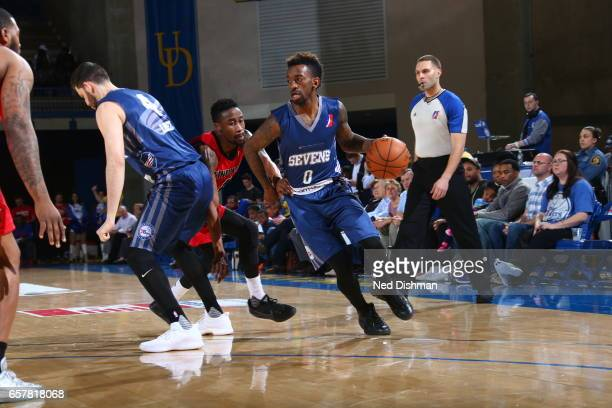 Russ Smith of the Delaware 87ers against John Octeus of the Windy City Bulls during the game on March 25 2017 at Bob Carpenter Center in Newark...