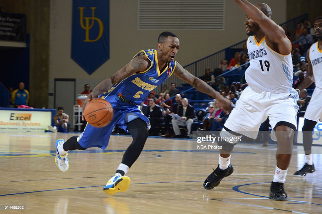 <a gi-track='captionPersonalityLinkClicked' href=/galleries/search?phrase=Russ+Smith+-+Basketballer&family=editorial&specificpeople=10584261 ng-click='$event.stopPropagation()'>Russ Smith</a> #5 of the Delaware 87ers dribbles the ball against the Iowa Energy on March 4, 2016 at the Bob Carpenter Center in Newark, Delaware.