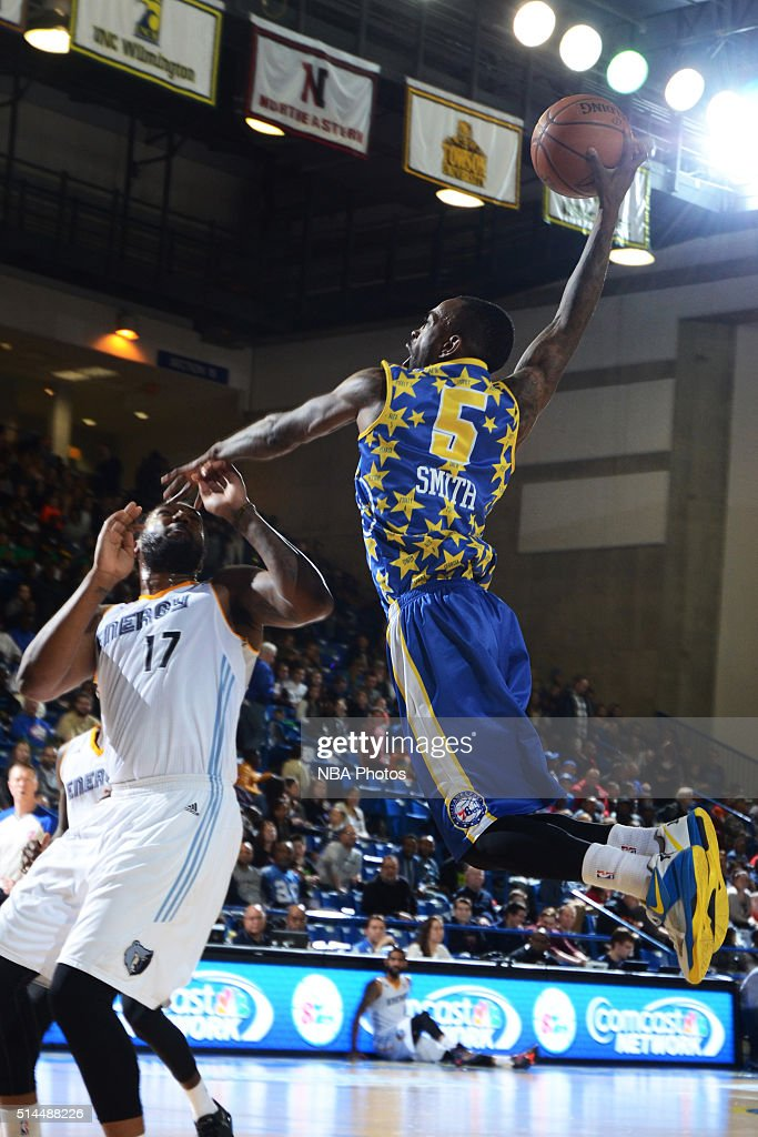 Russ Smith of the Delaware 87ers dunks the ball against the Iowa Energy on March 4 2016 at the Bob Carpenter Center in Newark Delaware NOTE TO USER...