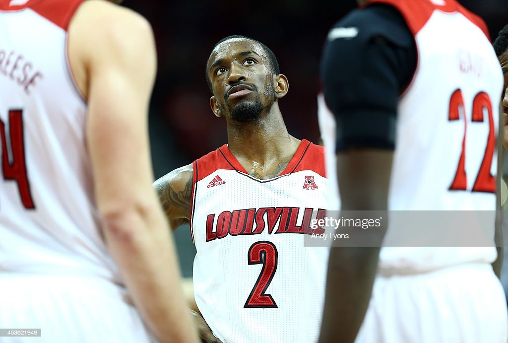 Russ Smith #2 of the Louisville Cardinals waits to shoot free throws during the game against the Missouri-Kansas City Kangaroos at KFC YUM! Center on December 4, 2013 in Louisville, Kentucky.