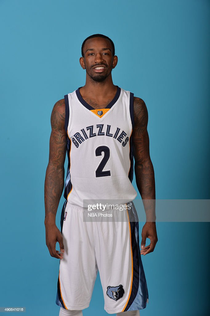Russ Smith #2 of the Memphis Grizzlies poses for a portrait during their 2015 Media Day on September 28, 2015 at FedEx Forum, in Memphis, Tennessee.