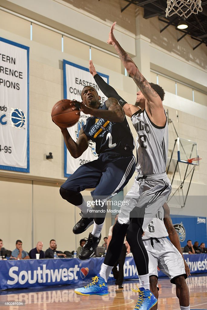 Russ Smith #2 of the Memphis Grizzlies shoots against the Orlando Magic White on July 10, 2015 at Amway Center in Orlando, Florida.