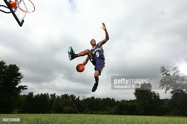 Russ Smith of the New Orleans Pelicans poses for a portrait during the 2014 NBA rookie photo shoot on August 3 2014 at the Madison Square Garden...