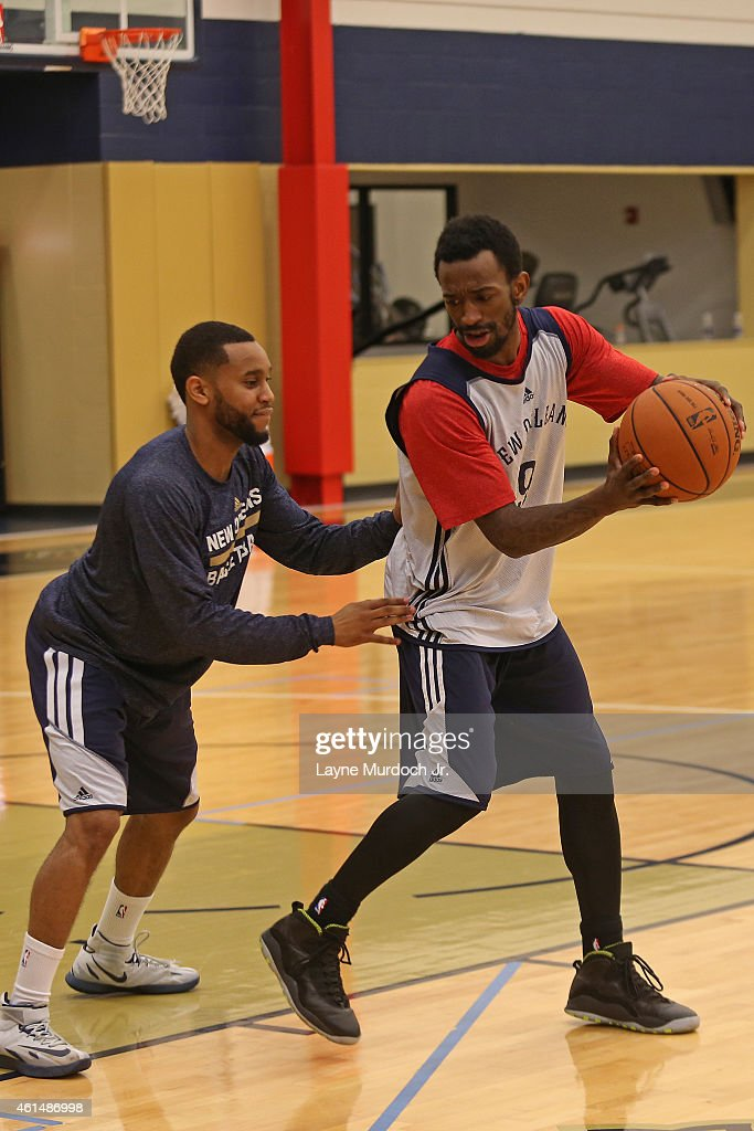 <a gi-track='captionPersonalityLinkClicked' href=/galleries/search?phrase=Russ+Smith+-+Basketballer&family=editorial&specificpeople=10584261 ng-click='$event.stopPropagation()'>Russ Smith</a> #9 of the New Orleans Pelicans practices on January 03, 2014 at the New Orleans Pelicans practice facility in Metairie, Louisiana.