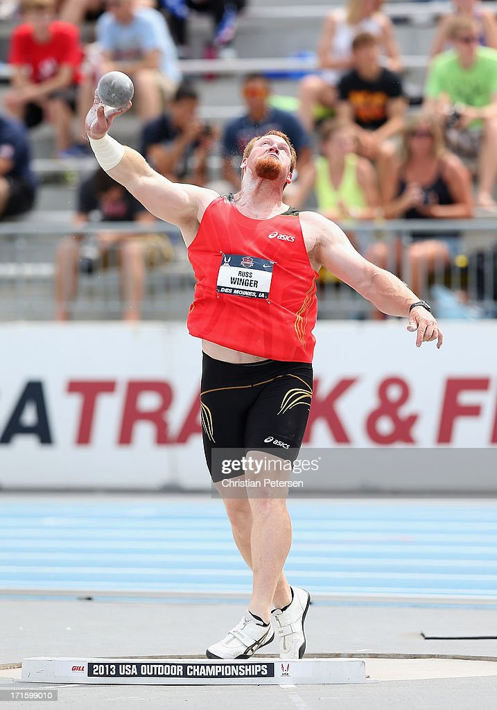 Russ Winger competes in the Men's Shot Put on day four of the 2013 USA Outdoor Track & Field Championships at Drake Stadium on June 23, 2013 in Des Moines, Iowa.