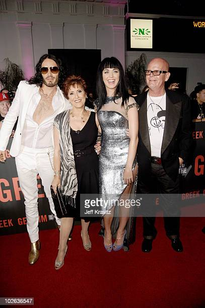 Russel Brand Katy Perry her mother Mary Hudson and her father Keith Hudson attend the Los Angeles premiere of 'Get Him To The Greek' at The Greek...
