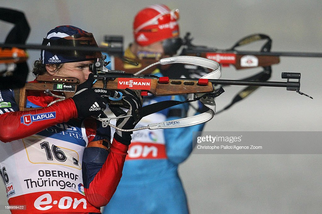 Russel Currier of USA competes during the IBU Biathlon World Cup Men's Relay on January 04, 2013 in Oberhof, Germany.