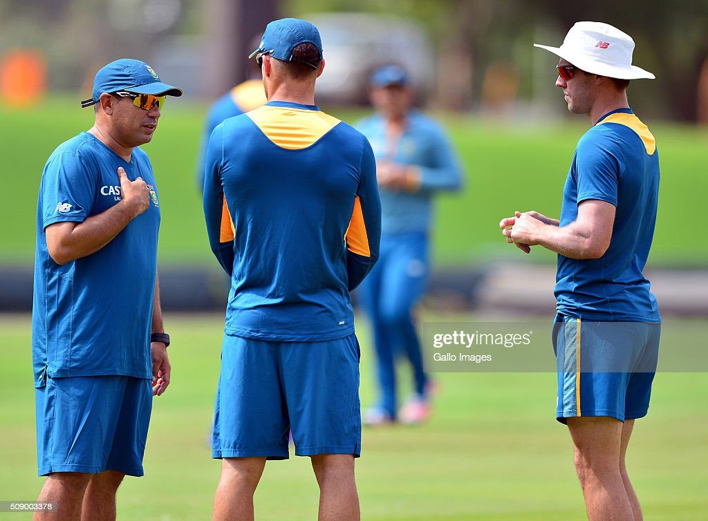 Russel Domingo and AB de Villiers during the South African national cricket team training session and press conference at SuperSport Park on February 08, 2016 in Pretoria, South Africa.