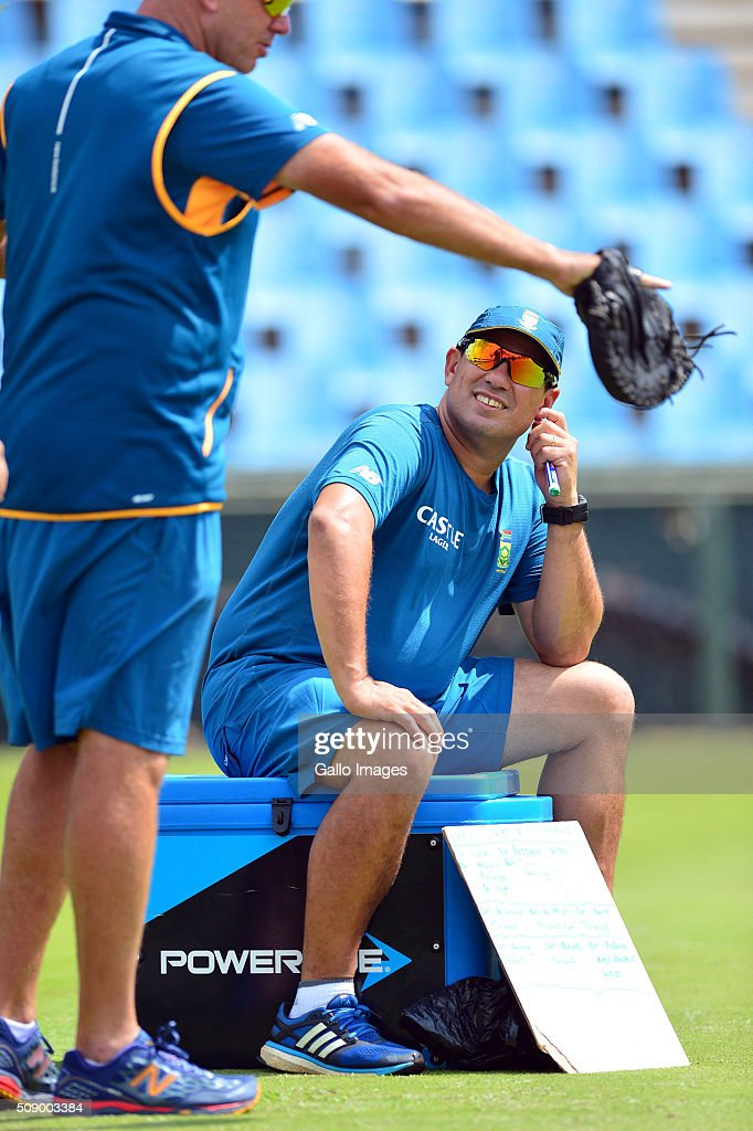 Russel Domingo during the South African national cricket team training session and press conference at SuperSport Park on February 08, 2016 in Pretoria, South Africa.