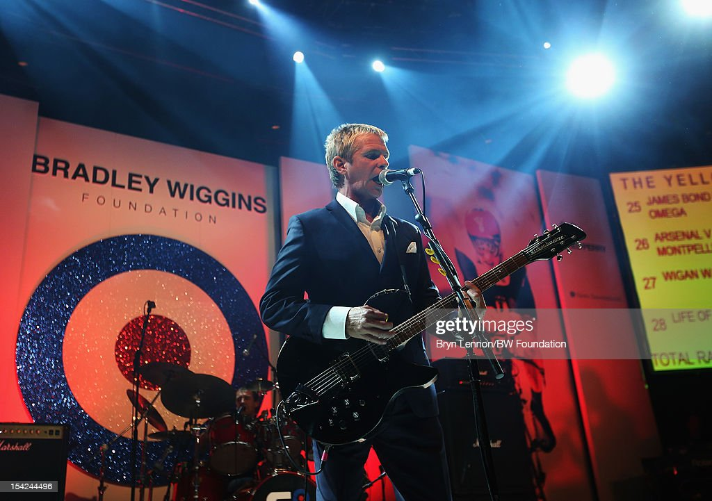 Russel Hastings plays at the Bradley Wiggins Foundation 'The Yellow Ball' event at The Roundhouse on October 16, 2012 in London, England. The dinner and entertainment show was held to celebrate the historic achievements of Great Britain's cyclist Bradley Wiggins in 2012, including his Tour de France win and Olympic gold achievements. The Foundation aims to promote participation in sport, to encourage young people to exercise regularly, and to support athletes from all sports to take their talent to the next level.