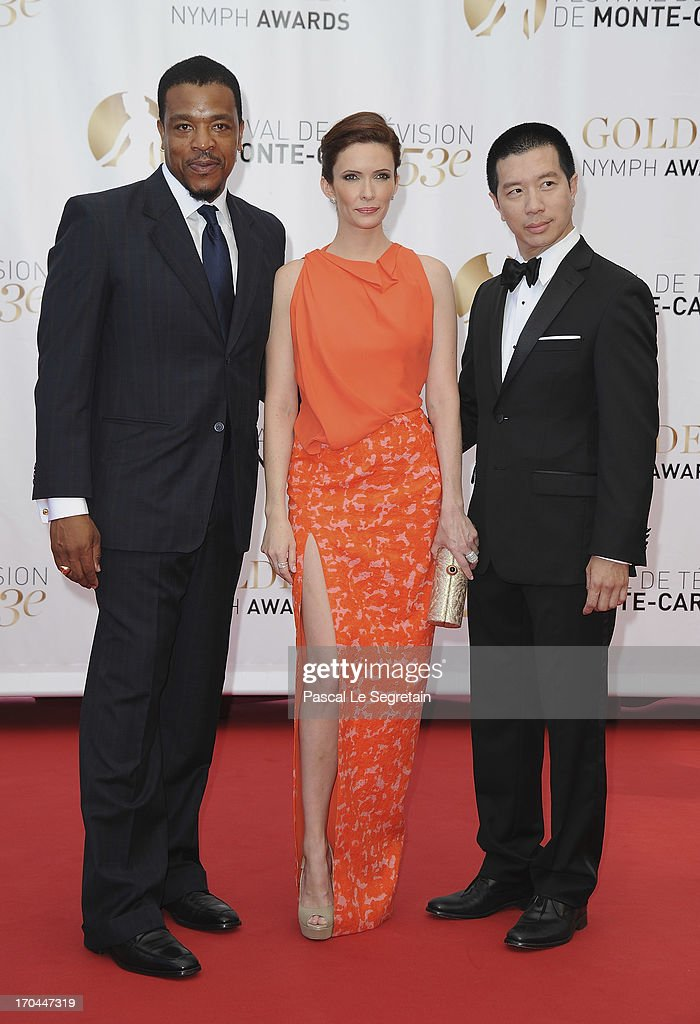 Russel Hornsby, Bitsie Tulloch and Reggie Lee attend the closing ceremony of the 53rd Monte Carlo TV Festival on June 13, 2013 in Monte-Carlo, Monaco.