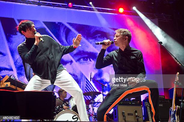 Russel Mael and Alex Kapranos of Franz Ferdinand Sparks perform on stage during the second day of Cruilla Festival at Parc Del Forum on July 11 2015...