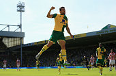 Russel Martin of Norwich City celebrates scoring his team's first goal during the Barclays Premier League match between Norwich City and Stoke City...