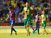Russel Martin of Norwich City gestures during the Barclays Premier League match between Norwich City and Crystal Palace at Carrow Road on August 8...