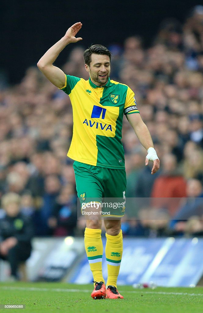 Russel Martin of Norwich City reacts during the Barclays Premier League match between Norwich City and West Ham United at Carrow Road on February 13, 2016 in Norwich, England.